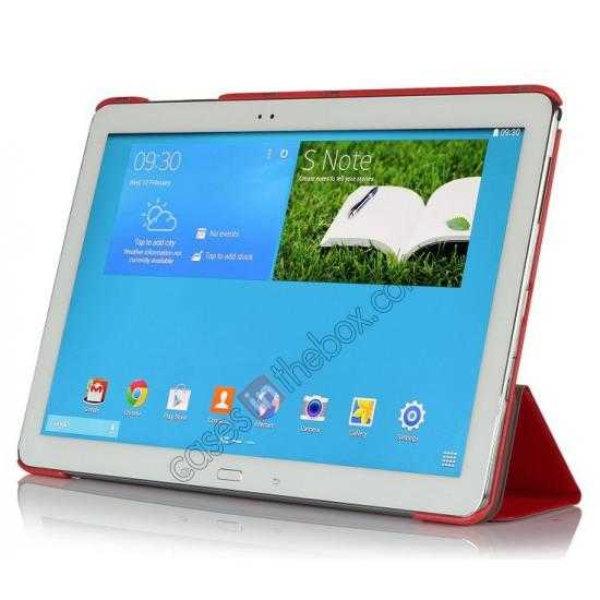 discount Ultra Slim Tri Fold Leather Case Cover for Samsung Galaxy Note Pro 12.2 P900 - Red