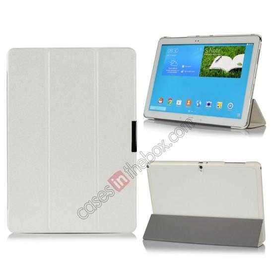 wholesale Ultra Slim Tri Fold Leather Case Cover for Samsung Galaxy Note Pro 12.2 P900 - White