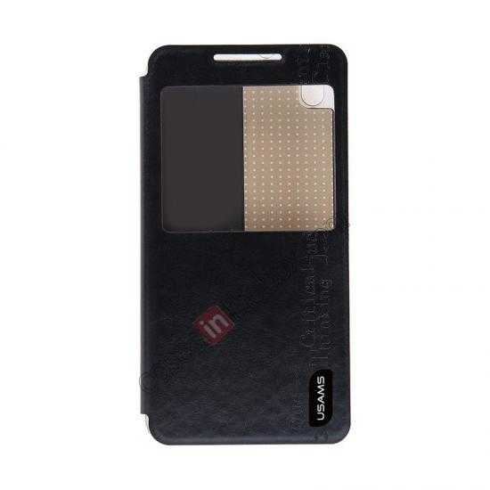 discount USAMS Merry Series Flip Leather Stand Case for HTC Desire 816 - Black