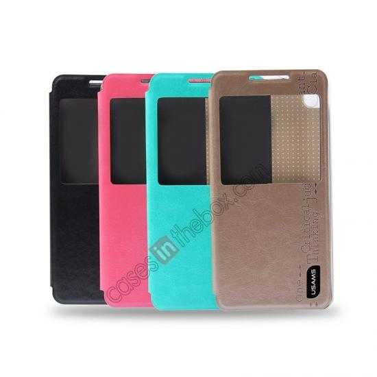low price USAMS Merry Series Flip Leather Stand Case for HTC Desire 816 - Black
