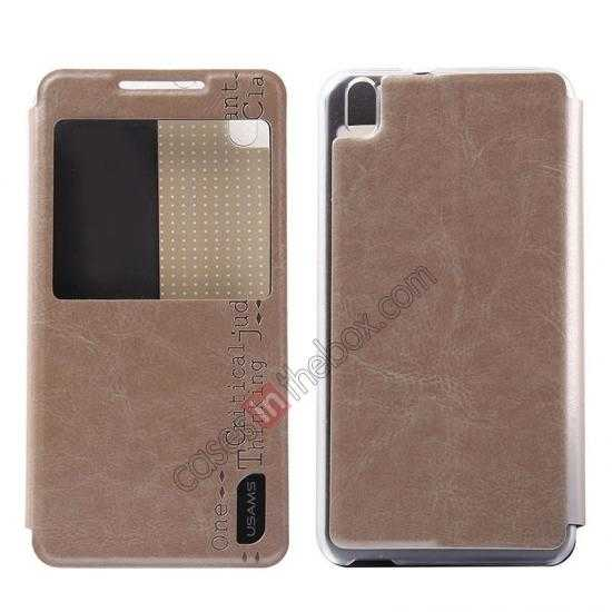 wholesale USAMS Merry Series Flip Leather Stand Case for HTC Desire 816 - Champagne Gold