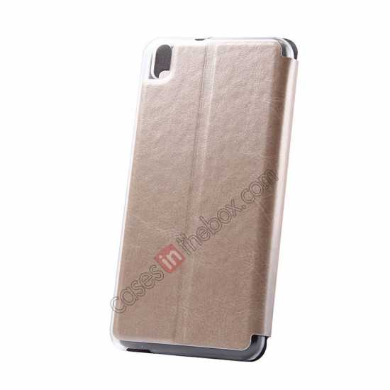 top quality USAMS Merry Series Flip Leather Stand Case for HTC Desire 816 - Champagne Gold