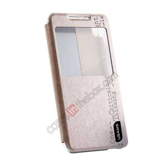 best price USAMS Merry Series Flip Leather Stand Case for HTC Desire 816 - Champagne Gold