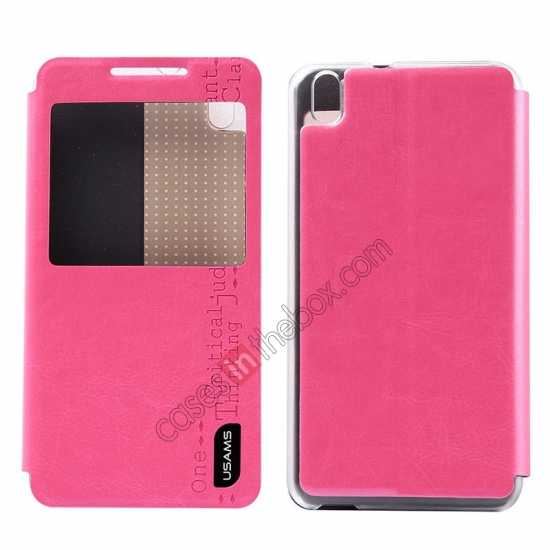 wholesale USAMS Merry Series Flip Leather Stand Case for HTC Desire 816 - Rose