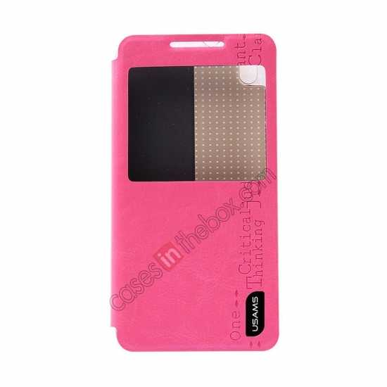 discount USAMS Merry Series Flip Leather Stand Case for HTC Desire 816 - Rose
