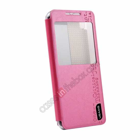 best price USAMS Merry Series Flip Leather Stand Case for HTC Desire 816 - Rose