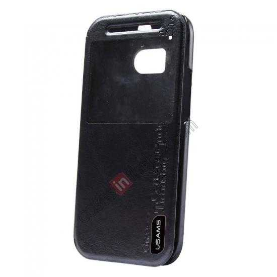 wholesale USAMS Merry Series Leather Side Flip Case for HTC One 2 M8 - Black