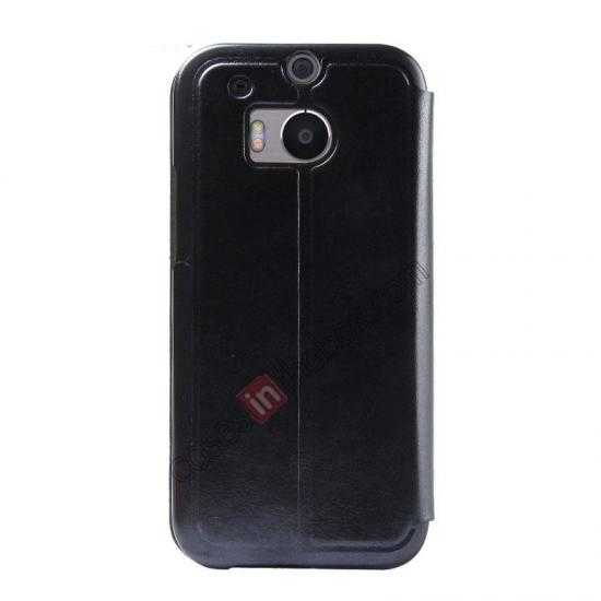 discount USAMS Merry Series Leather Side Flip Case for HTC One 2 M8 - Black