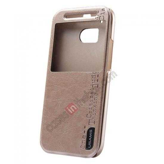 wholesale USAMS Merry Series Leather Side Flip Case for HTC One 2 M8 - Champagne