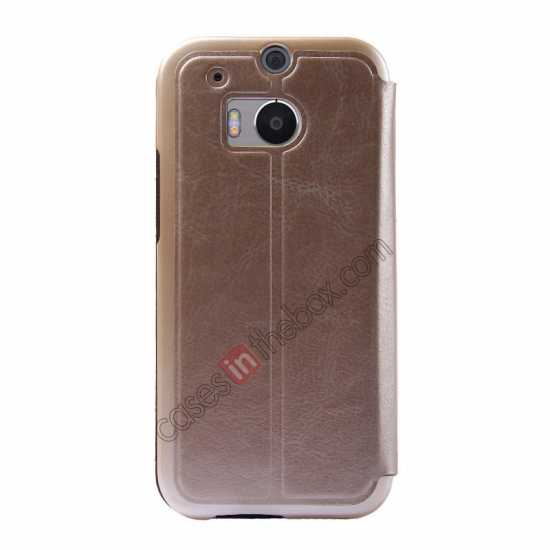 discount USAMS Merry Series Leather Side Flip Case for HTC One 2 M8 - Champagne