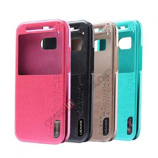 top quality USAMS Merry Series Leather Side Flip Case for HTC One 2 M8 - Champagne