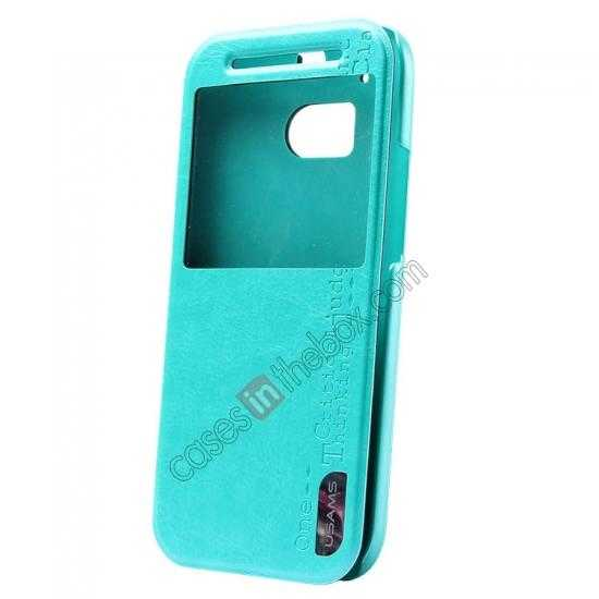 wholesale USAMS Merry Series Leather Side Flip Case for HTC One 2 M8 - Green