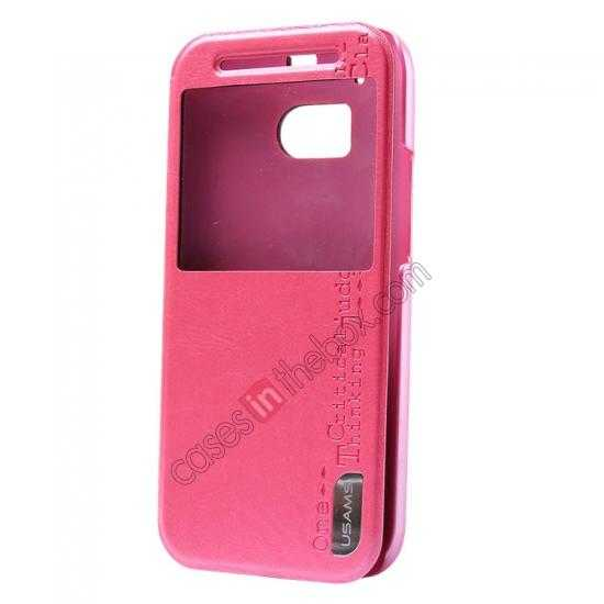 wholesale USAMS Merry Series Leather Side Flip Case for HTC One 2 M8 - Rose