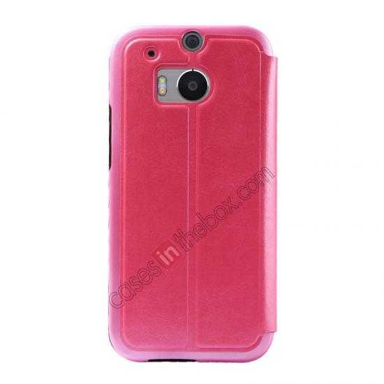discount USAMS Merry Series Leather Side Flip Case for HTC One 2 M8 - Rose