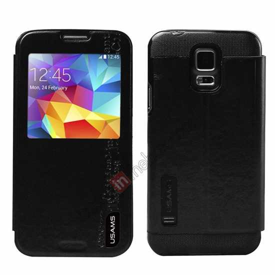 wholesale USAMS Merry Series Leather Side Flip Case for Samsung Galaxy S5 - Black