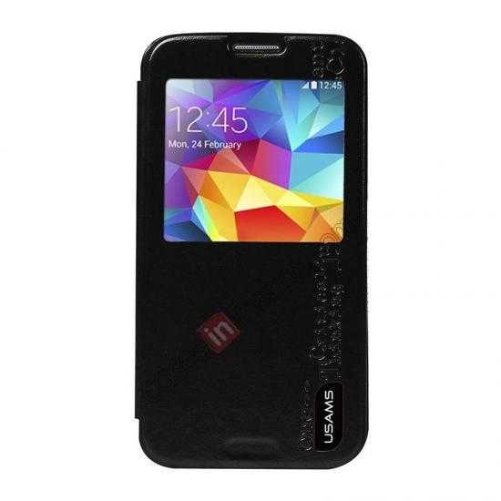 discount USAMS Merry Series Leather Side Flip Case for Samsung Galaxy S5 - Black