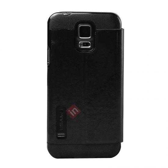 cheap USAMS Merry Series Leather Side Flip Case for Samsung Galaxy S5 - Black