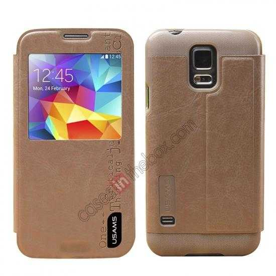 wholesale USAMS Merry Series Leather Side Flip Case for Samsung Galaxy S5 - Champagne