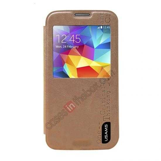 discount USAMS Merry Series Leather Side Flip Case for Samsung Galaxy S5 - Champagne