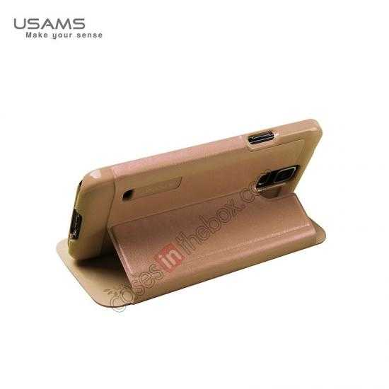 top quality USAMS Merry Series Leather Side Flip Case for Samsung Galaxy S5 - Champagne