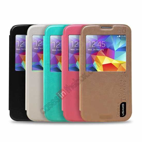 best price USAMS Merry Series Leather Side Flip Case for Samsung Galaxy S5 - Champagne