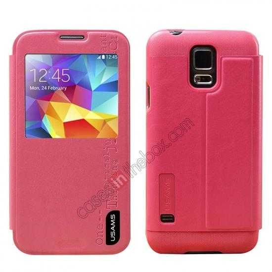 wholesale USAMS Merry Series Leather Side Flip Case for Samsung Galaxy S5 - Rose