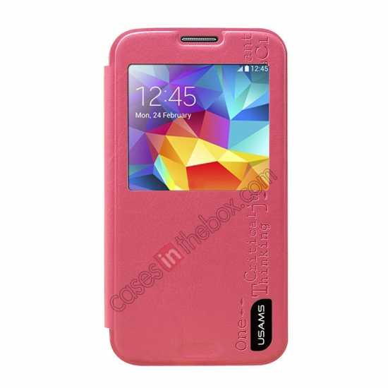 discount USAMS Merry Series Leather Side Flip Case for Samsung Galaxy S5 - Rose
