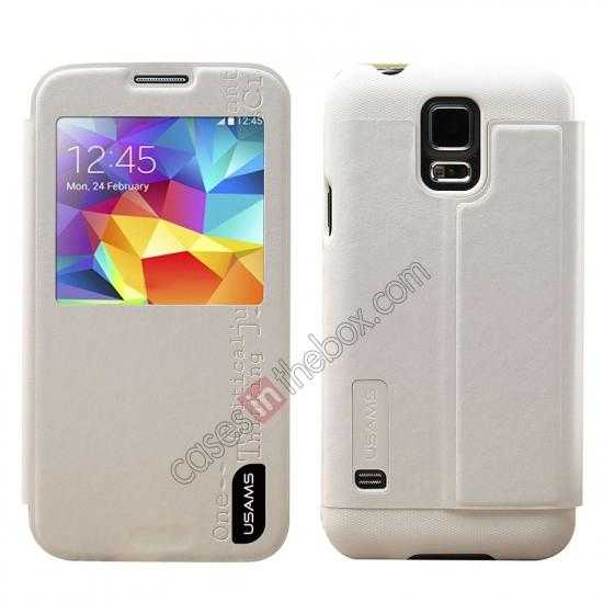 wholesale USAMS Merry Series Leather Side Flip Case for Samsung Galaxy S5 - White