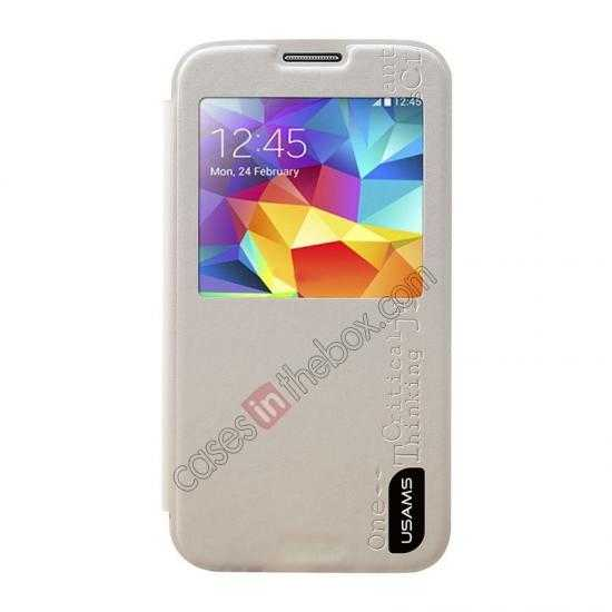 discount USAMS Merry Series Leather Side Flip Case for Samsung Galaxy S5 - White