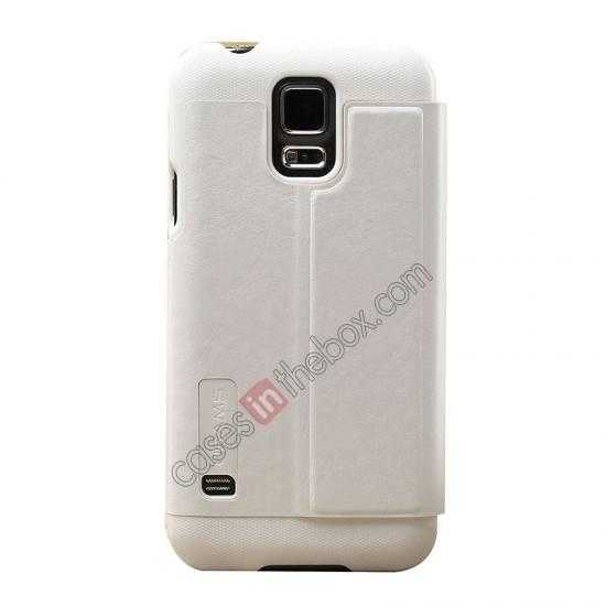 cheap USAMS Merry Series Leather Side Flip Case for Samsung Galaxy S5 - White