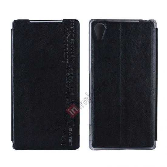 wholesale USAMS Merry Series Leather Side Flip Case for Sony Xperia Z2 - Black