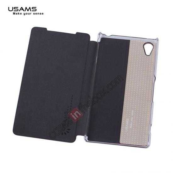 top quality USAMS Merry Series Leather Side Flip Case for Sony Xperia Z2 - Black
