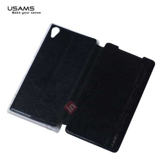best price USAMS Merry Series Leather Side Flip Case for Sony Xperia Z2 - Black