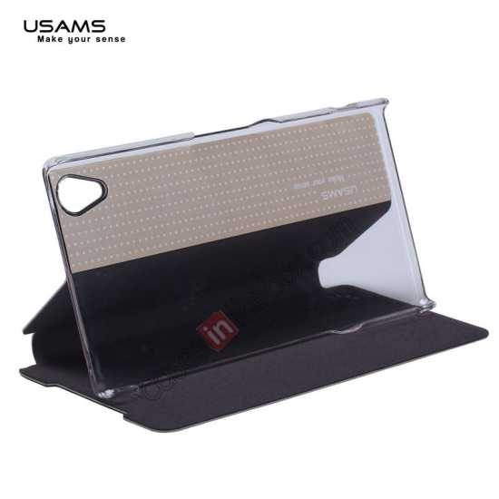 on sale USAMS Merry Series Leather Side Flip Case for Sony Xperia Z2 - Black