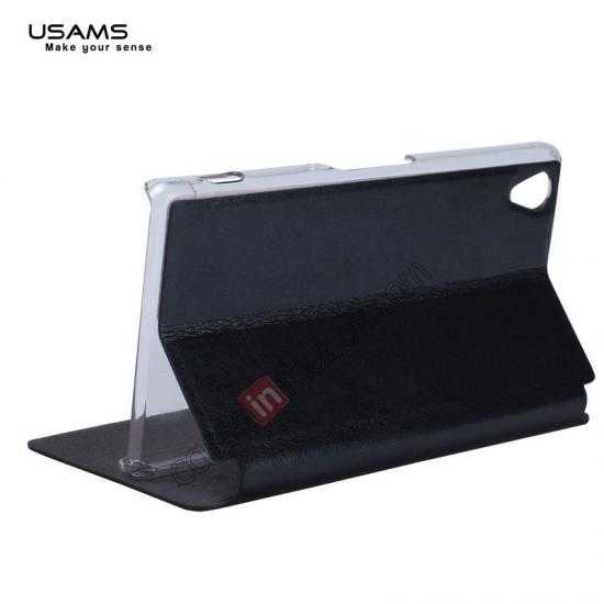 low price USAMS Merry Series Leather Side Flip Case for Sony Xperia Z2 - Black