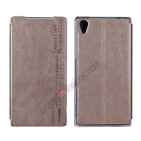 wholesale USAMS Merry Series Leather Side Flip Case for Sony Xperia Z2 - Champagne