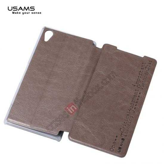 top quality USAMS Merry Series Leather Side Flip Case for Sony Xperia Z2 - Champagne