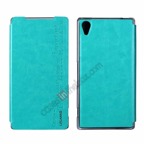 wholesale USAMS Merry Series Leather Side Flip Case for Sony Xperia Z2 - Green