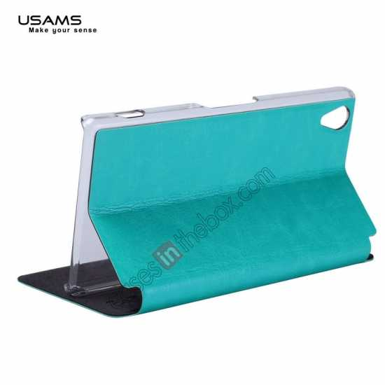 best price USAMS Merry Series Leather Side Flip Case for Sony Xperia Z2 - Green