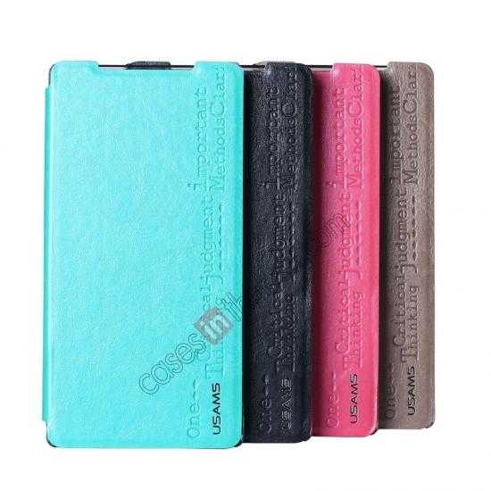 on sale USAMS Merry Series Leather Side Flip Case for Sony Xperia Z2 - Green
