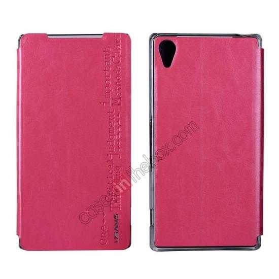 wholesale USAMS Merry Series Leather Side Flip Case for Sony Xperia Z2 - Rose