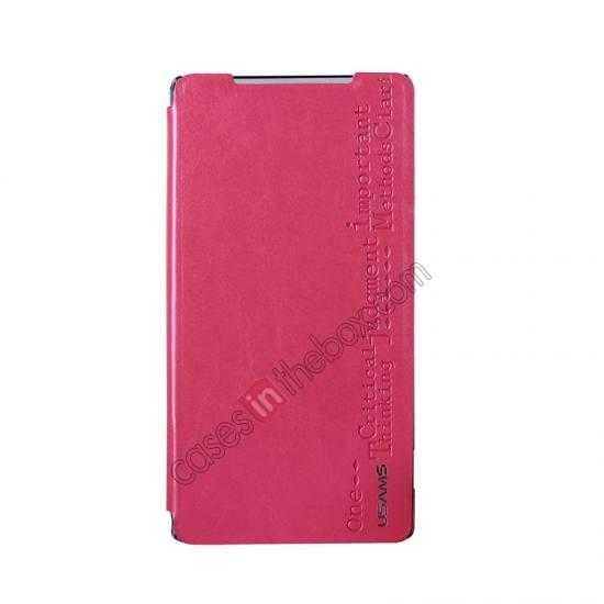 discount USAMS Merry Series Leather Side Flip Case for Sony Xperia Z2 - Rose