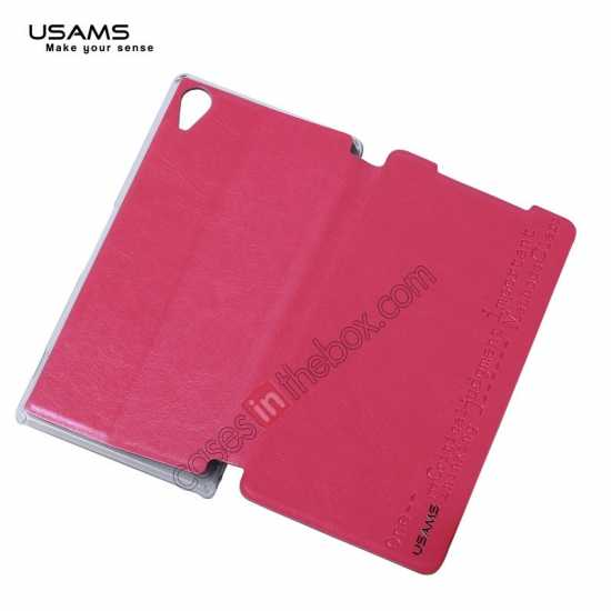 top quality USAMS Merry Series Leather Side Flip Case for Sony Xperia Z2 - Rose