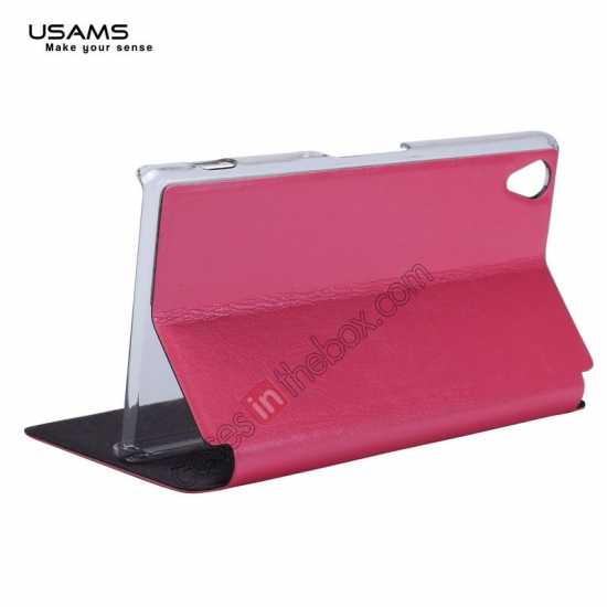 best price USAMS Merry Series Leather Side Flip Case for Sony Xperia Z2 - Rose
