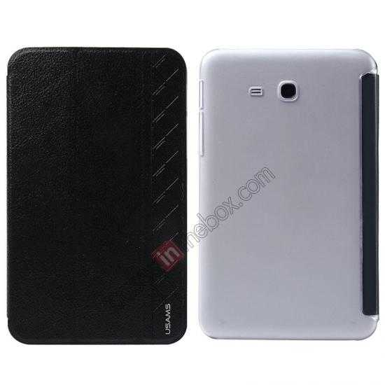 wholesale USAMS Starry Sky Series Tri-fold Stand Leather Case for Samsung Galaxy Tab3 Lite7 T110 - Black