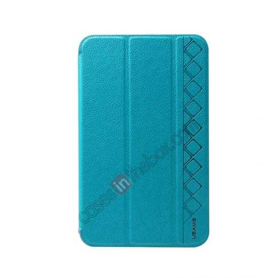 discount USAMS Starry Sky Series Tri-fold Stand Leather Case for Samsung Galaxy Tab3 Lite7 T110 - Light Blue