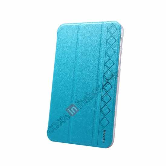 top quality USAMS Starry Sky Series Tri-fold Stand Leather Case for Samsung Galaxy Tab3 Lite7 T110 - Light Blue