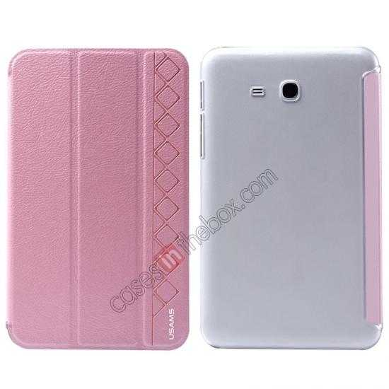 wholesale USAMS Starry Sky Series Tri-fold Stand Leather Case for Samsung Galaxy Tab3 Lite7 T110 - Pink
