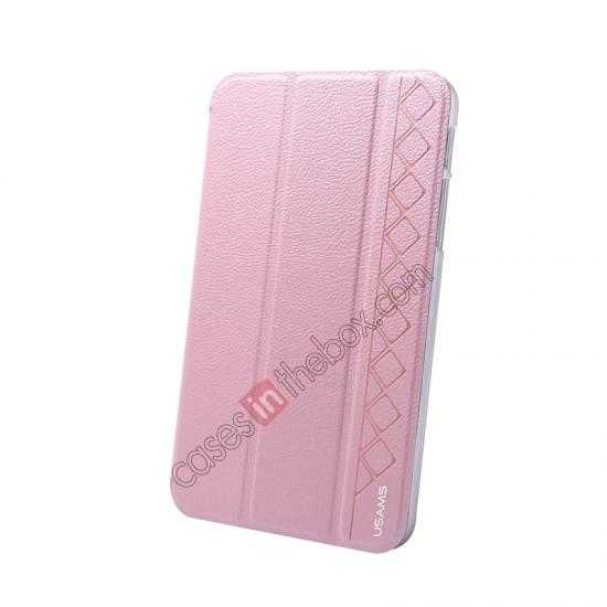 top quality USAMS Starry Sky Series Tri-fold Stand Leather Case for Samsung Galaxy Tab3 Lite7 T110 - Pink
