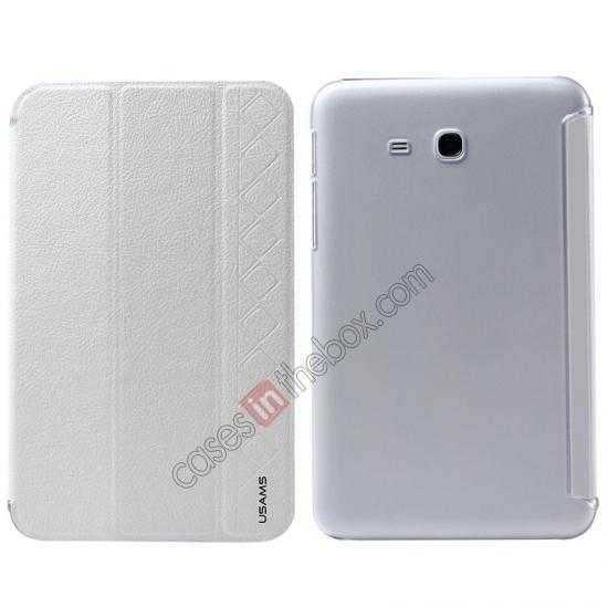 wholesale USAMS Starry Sky Series Tri-fold Stand Leather Case for Samsung Galaxy Tab3 Lite7 T110 - White